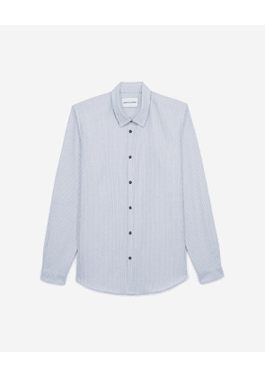 The Kooples - Striped blue shirt with press studs - MEN