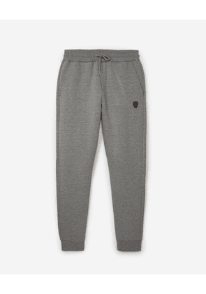 The Kooples - Skinny heather grey joggers w/leather badge - MEN