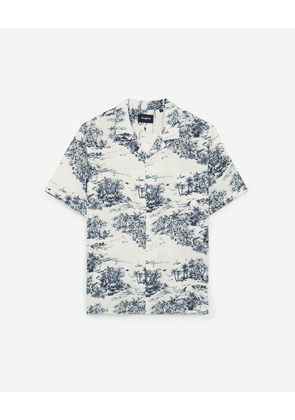 The Kooples - Printed loose ecru shirt w/Hawaiian collar - MEN