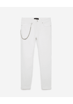 The Kooples - Stretchy white slim-fit jeans w/silver chain - MEN