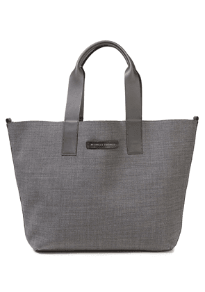 Brunello Cucinelli Reversible Bead-embellished Wool-blend Tote Woman Anthracite Size --