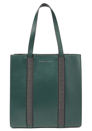 Brunello Cucinelli Bead-embellished Leather Tote Woman Dark green Size --