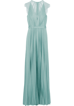 Catherine Deane Nelia Lace-paneled Pleated Satin Gown Woman Grey green Size 14