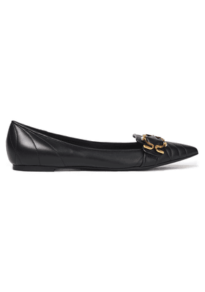Dolce & Gabbana Embellished Quilted Leather Point-toe Flats Woman Black Size 37
