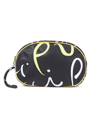 Emilio Pucci Leather-trimmed Printed Satin-twill Cosmetics Case Woman Black Size --
