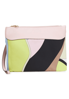 Emilio Pucci Leather-trimmed Printed Twill Pouch Woman Baby pink Size --