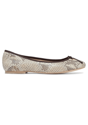 French Sole Lola Bow-embellished Snake-effect Leather Ballet Flats Woman Animal print Size 35.5