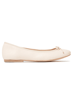 French Sole Lola Bow-embellished Snake-effect Leather Ballet Flats Woman Pastel pink Size 35.5
