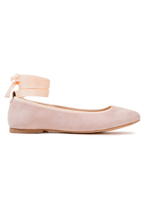 French Sole Margot Grosgrain-trimmed Suede Ballet Flats Woman Baby pink Size 37.5