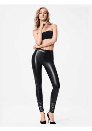 Wolford Emma Faux Leather Leggings With Lace
