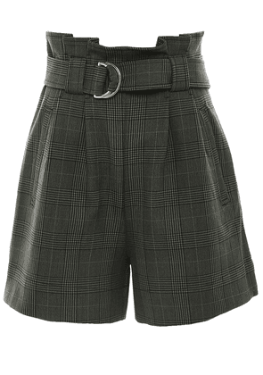 Ganni Checked Suiting Shorts Colour: Green