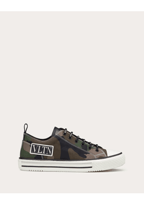 Valentino Garavani Uomo Giggies Camouflage Low-top Fabric Sneaker Man Military Green Cotton 100% 39