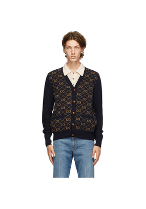 Gucci Navy Wool GG Cardigan
