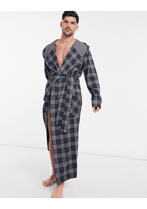 ASOS DESIGN dressing gown in navy check