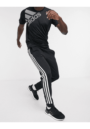adidas 3-stripe joggers in black
