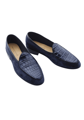 Navy Suede and Lizard Loafers