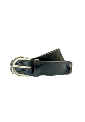 Blue Woven Leather Belt