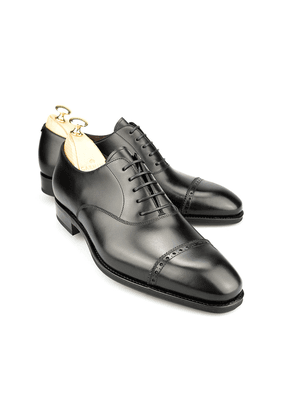 Black Leather Brogue Oxfords