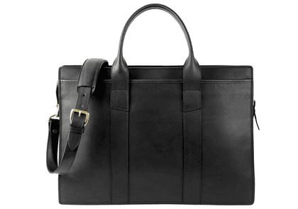 Black Double Zip-Top Harness Belting Leather Briefcase