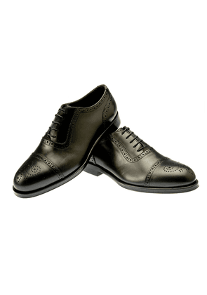 Black Calfskin Punched Oxfords