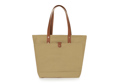 Tan and Brown Broadway Canvas and Leather Tote