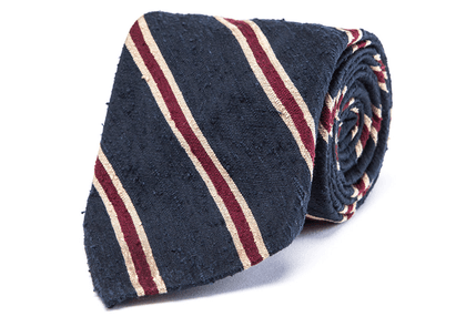 Blue and Red Regimental Stripe Shantung Silk Unlined Tie