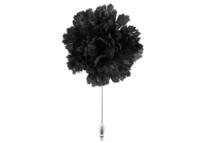 Black Silk Flower Lapel Pin