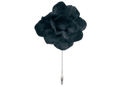 Black Leather Flower Lapel Pin
