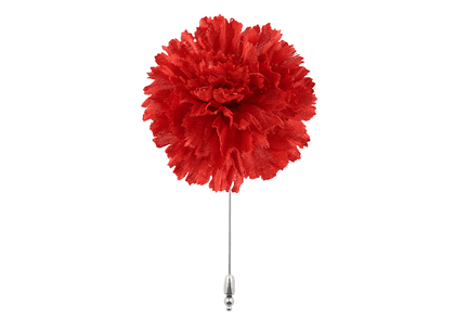 Red Silk Flower Lapel Pin