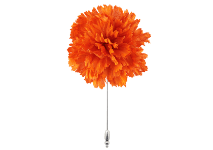 Orange Silk Flower Lapel Pin