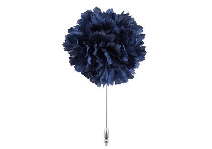 Navy Blue Silk Flower Lapel Pin