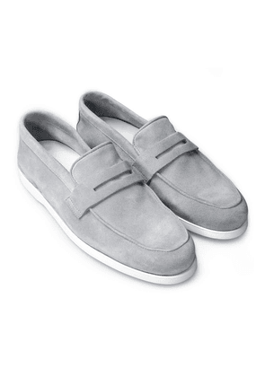 Feather Grey Suede Penny Loafers