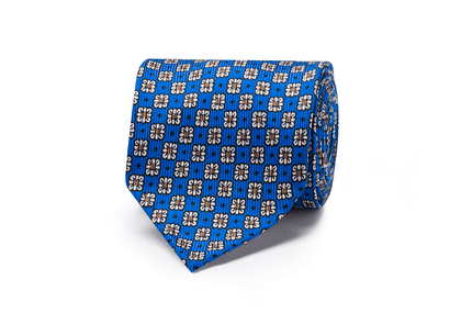 Blue and White Silk and Cotton Handrolled Tie