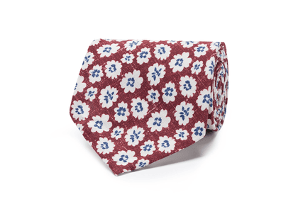 Bordeaux and White Silk and Cotton Handrolled Tie