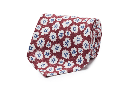 Bordeaux and White Linen and Silk Tie