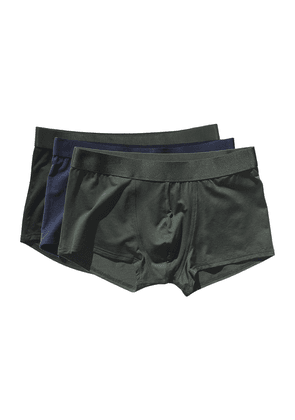 Black, Green and Blue Lyocell Boxer Trunks 3-Pack