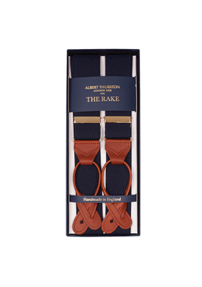 Navy Braces with Brown Leather Ends