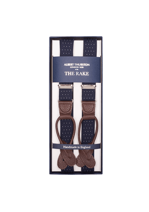 Navy Braces with Dots and Brown Leather Ends