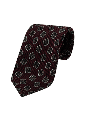 Burgundy Wool and Silk Three-Fold Square Pattern Tie
