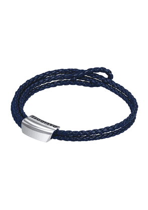 Blue Braided Leather and Rhodium-Plated Bracelet