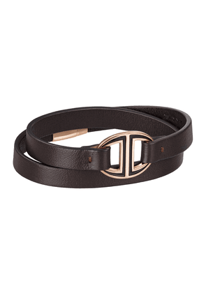 Brown Leather and Rose Gold-Plated Wrap-Around Bracelet