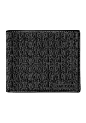 Black Embossed Leather Zino Six-Card Wallet