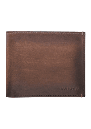 Brown Hand-Painted Leather Venice Billfold Six-Card Wallet