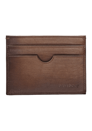 Brown Hand-Painted Leather Venice Card Holder