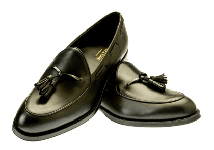 Black Leather Tito Tassel Loafers