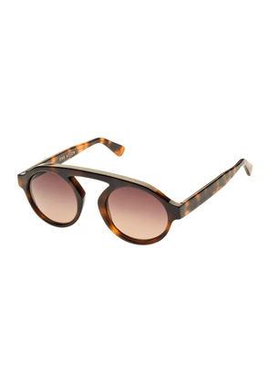 Brown Tortoiseshell Acetate Sunglasses with Violet Lenses