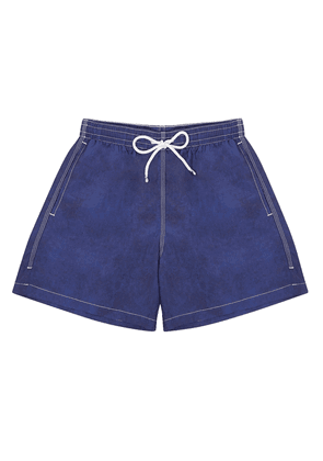 Navy Swim Shorts with White Stitching