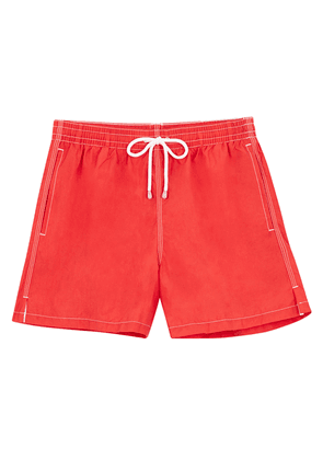 Red Swim Shorts with White Stitching