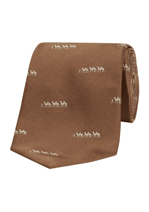 Chocolate Camel Train Patterned Silk Tie