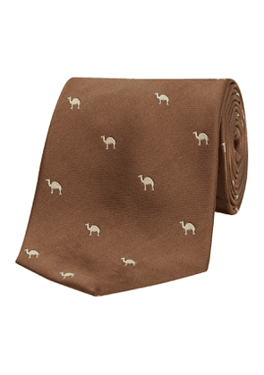 Chocolate Camel-Patterned Silk Tie